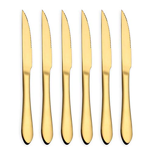 Steak Knife Set, Stainless Steel and Durable Comfortable Grip Handle, Mirror Polish and Titanium Plated, for Pizza or Steak