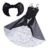 NUOBESTY Disfraz de Ángel Negro de Halloween Vestido de Ángel Caído Oscuro Traje de Cosplay de Vampiro con Alas para Dama Niña Fiesta de Disfraces de Halloween
