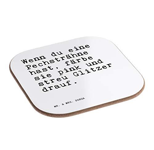 Mr. & Mrs. Panda Quadratische Untersetzer mit Spruch Wenn du eine Pechsträhne hast, färbe sie pink und streu Glitzer Drauf.