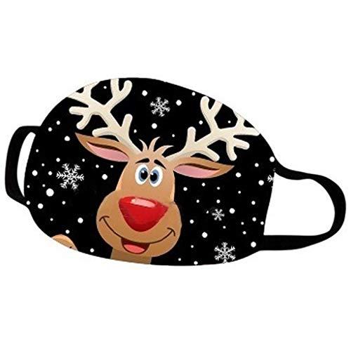 PcLeam Face Cover Daily Mundschutz 3D Weihnachten Karikatur Drucken Unisex Waschbar Halstuch Atmungsaktiv Bandana Winddicht Face Scarf Weihnachten Geschenk Motorrad Fahrrad Joggen Schal(A1)