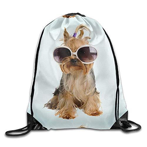 Lsjuee Funny Dog Print Drawstring Backpack Rucksack Shoulder Bags Gym Bag Sport Bag