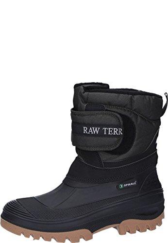 Unbekannt Schwarzer gefütteter Stallstiefel mit Klettverschlusss und Webpelzfutter und PVC - Fuß, 39