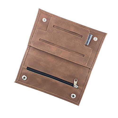 Tabaktasche Ciggy Jumper® im Premium Used Leather Style mit Doppel- oder Langem-Blättchen Fach, Tabak-Beutel, Drehertasche mit Filterfach, Blättchenhalter div. Farben (3.) Cognac Long
