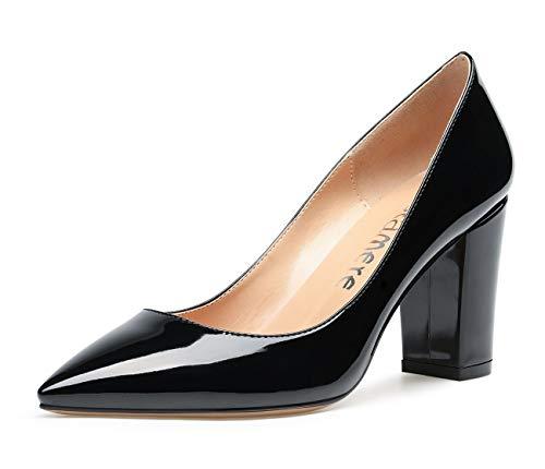 CASTAMERE Damen High Heels Spitzen Blockabsatz Pumps 8CM Lackleder Schwarz Schuhe EU 38