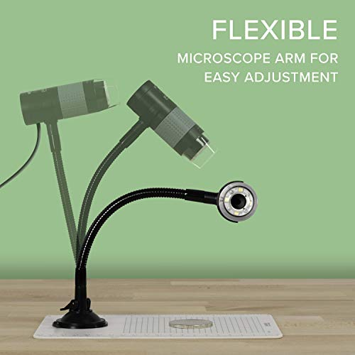 Plugable USB 2.0 Digital Microscope with Flexible Arm Observation Stand Compatible with Windows, Mac, Linux (2MP, 250x Magnification)