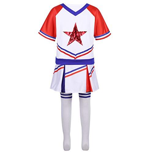 YiZYiF Enfant Fille Ensemble Uniforme Pom-Pom Girls Vêtement Sport Robe Danse Gymnastique Top Jupe-Shorts Costume Performance Dancewear Tenues 3-16 Ans Blanc & Rouge 14-16 Ans