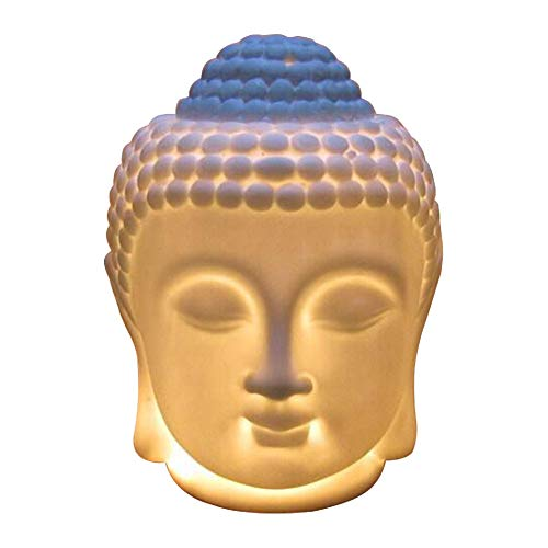 Singeek Buddha Head Ceramic Tea Light Holder,Essential Oil Burner Candle Aroma Diffuser for Spa Yoga Meditation (White)