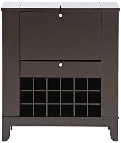 Baxton Studio Modesto Brown Modern Dry Bar and Wine Cabinet, Medium, Dark brown