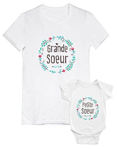 Green Turtle T-Shirts Ensemble pour Grande et Petite Soeur T-Shirt Fille et Body bébé Baby Blanc 3-6 Mois/Fille Blanc 4A