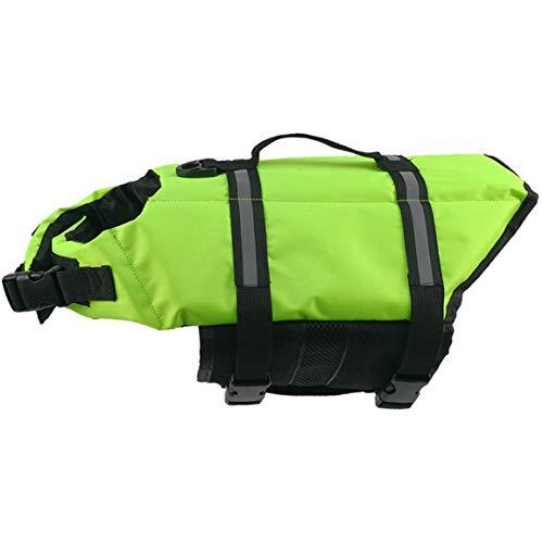 Reddingsvest voor honden, veiligheidskleding, reddingsvest voor honden, hondenharnas voor huisdieren, badkleding voor zomer, badkleding (kleur: groen) (maat XXL)