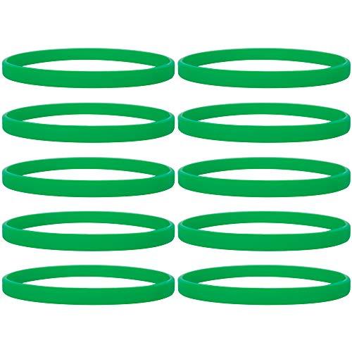 Gogo 100 Pulseras de Silicona Personalizada, Pulsera Elastica de Multicolor, Brazalete de Goma, Brazalete Deportivo - Verde