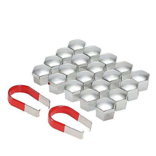KKmoon 20pcs Tapa de Tuerca de Rueda Universal 17mm Cubierta de Tuerca de Neumático con Herramienta de Removedor para Rueda de Coche,Aluminio