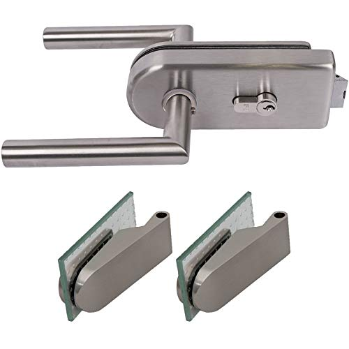 inova Glastürbeschlag-Set DIN Links/rechts für Studio-Bohrung, Profilzylinder-Schloss, Tür-Drücker, Tür-Bänder