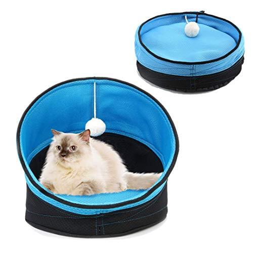 Lollimeow ペットベッド ペットソファ 猫 小型犬用 ソフト マットペット用品 通年タイプ 折り畳み式 ドーム型 ボール付き