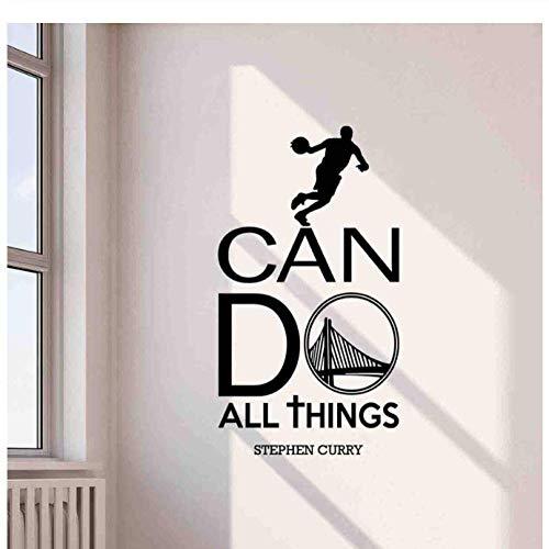 Calcomanías De Pared Todo Lo Que Puedo Hacer Cita Deportes Gimnasio Baloncesto Coloquial Vinilo Pegatina Decoración Cartel Arte Mural Impresión Niño Decoración 42X76Cm