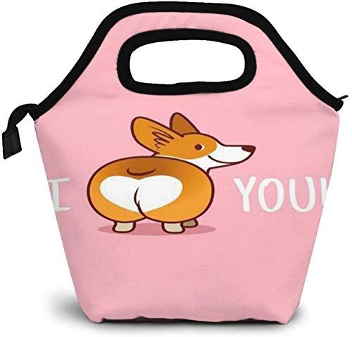 Super drôle Pembroke Welsh Corgi je t'aime sac à lunch isolé boîte à bento personnalisée pique-nique glacière Portable sac à main déjeuner sac fourre-tout pour femmes fille hommes garçon