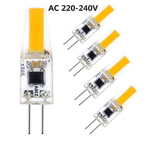 G4 led 220V, HGHC 2W COB Leuchtmittel 2700K Warmweiß 200LM, Lampe aus Silika Gel Ersetzt Traditionelle 20W Halogenlampe, 360° Abstrahlwinkel, 5er Pack
