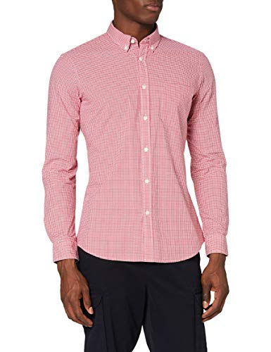 Amazon-Marke: MERAKI Herren Hemd Slim Fit mit Vichy-Muster, Rot (Red), XL, Label: XL