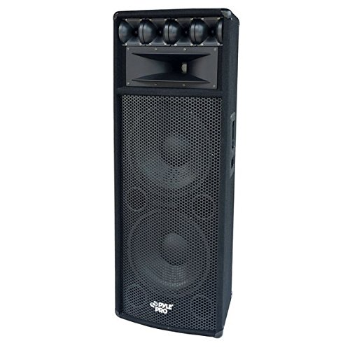 "Portable Cabinet PA Speaker System - 1600 Watt Outdoor Sound System Vehicle Stereo Speakers w/ Dual 12"" Woofers, 3.4"" Piezo Tweeters, 5""x12"" Super Horn Midrange, Crossover Network - PylePro PADH212"