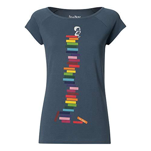 FellHerz Books Girl graublau - S - süßes Damen T-Shirt Bio & Fair aus 100% Bio-Baumwolle, nachhaltig, vegan, ökologisch, alternativ, lustig, Organic Cotton