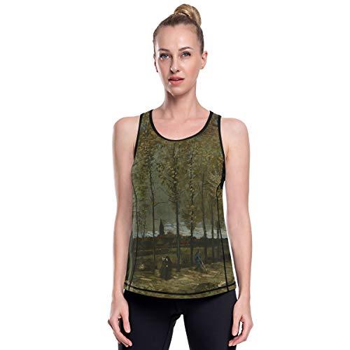 Fantazio Van Gogh Poppliers Vêtements de yoga en maille haut d'exercice Gym Chemises de course à pied - - L