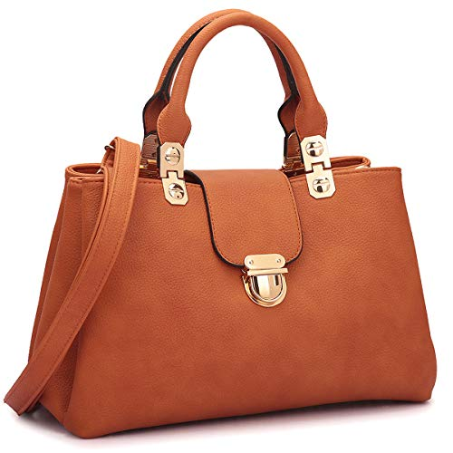 MATERIAL: Soft vegan leather with polished gold-tone hardware. No animal harms and environment friendly. Fully fabric lining. Rolled and stitched faux leather handles. SPECIAL DESIGN: Three pockets with dual closures(zipper and magnetic buckle) keep ...