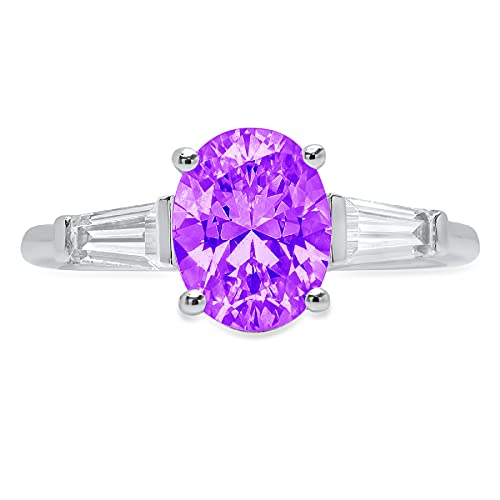 2.5 ct Oval Baguette cut 3 stone Solitaire Accent Natural Purple Amethyst Gem Stone Ideal VVS1 Engagement Promise Statement Anniversary Bridal Wedding Ring 14k White Gold Size 6.75