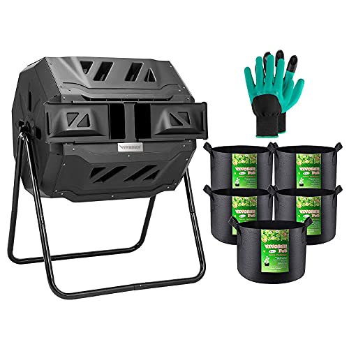 VIVOSUN Tumbling Composter Dual Rotating Batch Compost Bin with 5-Pack 5 Gallon Grow Bags