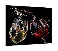 TMK - Copri piano cottura induzione 60x52 cm copertura per piano cottura in vetroceramica 1 pezzi universale per piastre di cottura paraspruzzi tagliere in vetro temprato come decorazione Vino Nero