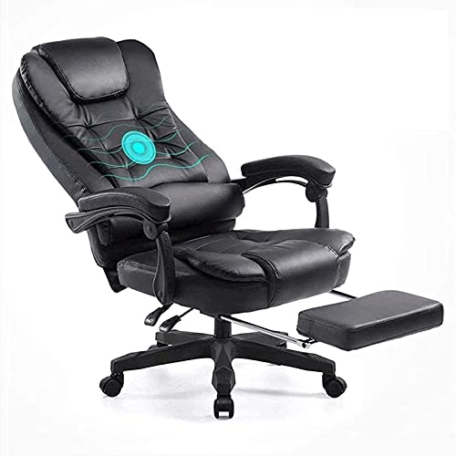 JNOIHF Ergonómico PU Silla ejecutiva y gerente de cuero, silla de computadora de escritorio de oficina en casa grande y alta, silla de juego giratoria de 360 ° con reposabrazos y reposapiés, 420 lbs
