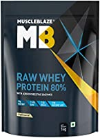 MuscleBlaze Raw Whey Protein Concentrate 80% with Added Digestive Enzymes, Labdoor USA Certified (Unflavoured, 1 kg /...