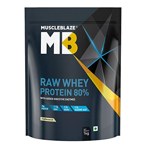 MuscleBlaze Raw Whey Protein Concentrate 80% with Added Digestive Enzymes, Labdoor USA Certified (Unflavoured, 1 kg / 2.2 lb, 33 Servings)