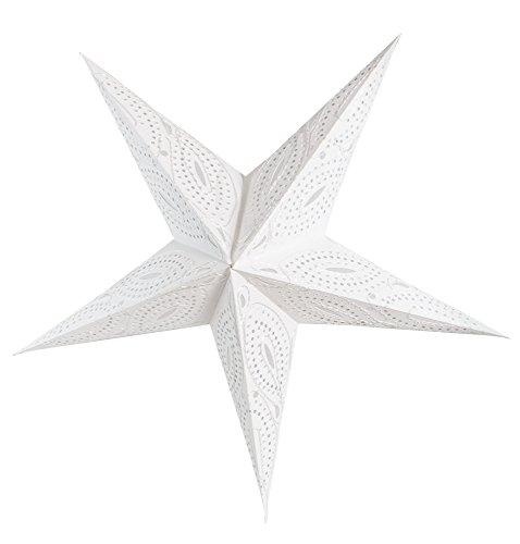 BRUBAKER Étoile de Noël 5 Branches Blanc avec Broderie décorative torsadée en Argent Blanc – 60 cm
