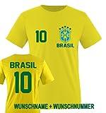 Comedy Shirts - BRASILIEN WM 2014 - Wunsch Kinder T-Shirt - Gelb/Grün-Blau Gr. 152-164