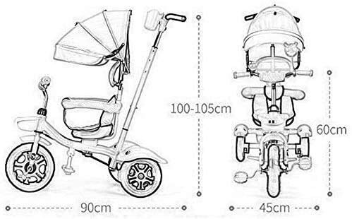 Cxjff Enfants Tricycle, Vélo Lumière Enfants Lumière Kid Poussette Multifonction barrière de sécurité Frein arrière Confortable et de sécurité avec Deux Auvent/Way