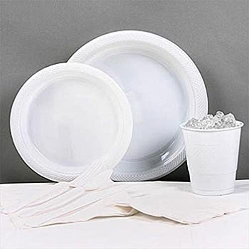 blanc Plastic Party Pack For 20 by Shindigz
