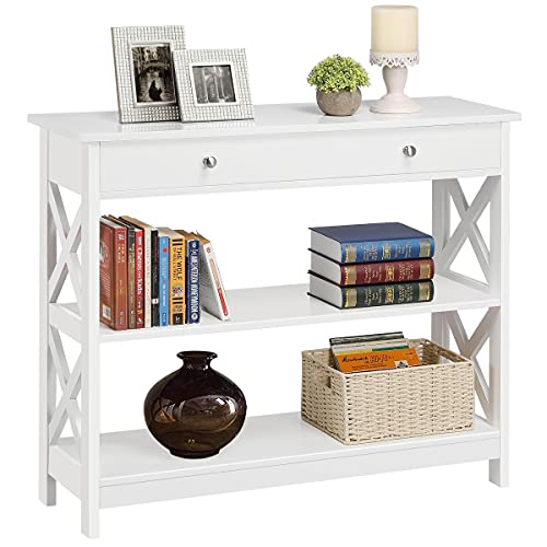 YAHEETECH X-Frame Sofa Side Console Table with 1 Drawer and 2 Storage Shelves, 3 Tier Narrow Accent Table for Entryway/Hallway/Living Room, 39in L x 12in W x 31.5in H, White