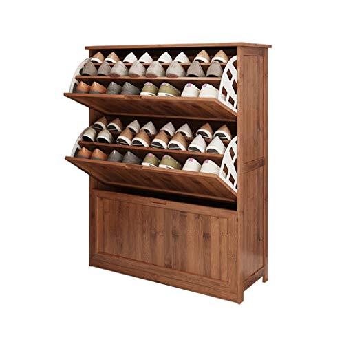 Zapateros Hogar Espesar Zapato despacho de casa Ultra-Delgada de múltiples Capas práctica Polvo Gabinete Volquete Gabinete de Madera sólida Porche Espacio Brown UOMUN (Size : 80X33X112cm)