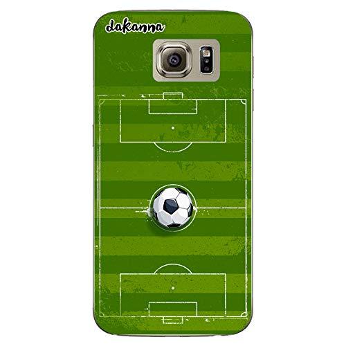 dakanna Funda para Samsung Galaxy S6 | Campo y balón de fútbol | Carcasa de Gel Silicona Flexible Transparente