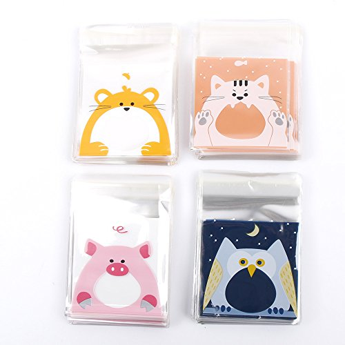 ICYANG 400Pcs Mini Cute Cartoon Animals Pattern Candy Biscuits Cookies Packaging Bags, Self-Adhesive Plastic Bag for for Bakery Home Party