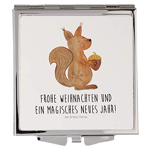 Mr. & Mrs. Panda schminken, Quadrat, Handtaschenspiegel quadratisch Eichhörnchen Weihnachten mit Spruch - Farbe Weiß