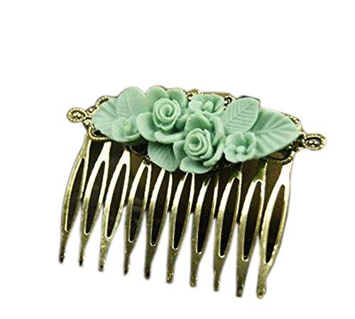 Ensemble de 2 peigne classique peigne métal vert fleur décoration cheveux chic peigne