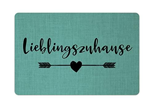 Interluxe Fußmatte 40x60 cm - Lieblingszuhause - rutschfeste Fussmatte, wohlfühlen, Heimat, gemütlich Türkis