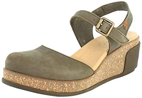 El Naturalista N5001 Leaves Femme Sandales compensées,Sandales,Sandales compensées,Chaussures d'été,Confortable,Plat,Kaki,39 EU / 6 UK