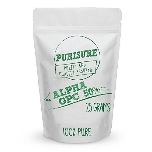 Purisure Alpha GPC 50% Powder | Choline Supplement & Nootropics | Mood Support, Cognitive Enhancer, & Brain Focus Booster | Improves Mental Clarity, Memory Performance & Concentration | 42 Servings