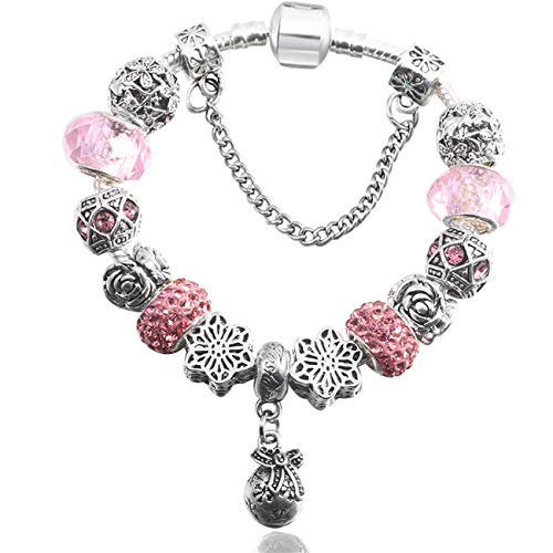 Baostic Pulseras European Style Vintage Silver Plated Crystal Charm Bracelet Women Fit Original DIY Fine Bracelet Jewelry Gift BE008 19cm