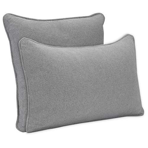 DYNMC you 2 x Sofakissen mit Füllung und Bezug aus Hochwertiger Oeko TEX Baumwolle - Dekokissen mit Füllung - Deko Kissen Grau - Zierkissen in Modernem Design