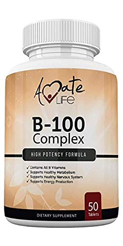 Vitamin B Complex High Potency -Vitamin B12, B1, B2, B3, B5, B6, B7 Biotin Supplement Supports Healthy Metabolism, Immune Support & Energy Production- Made in USA - 50 Tablets by Amate Life