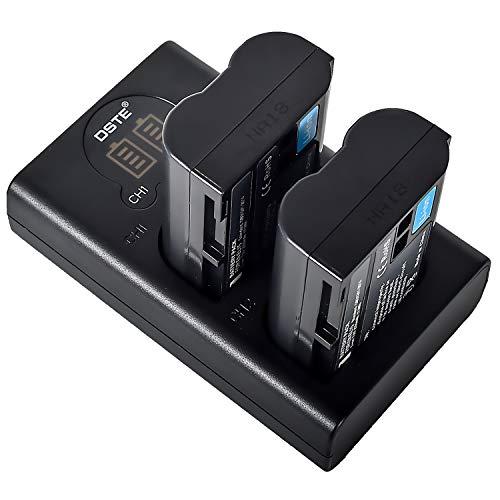 DSTE EN-EL15 Batería Recargable (Paquete de 2) y Cargador USB Dual LED Inteligente compatibles con Nikon Z6 Z7 D500 D600 D610 D800 D850 D800E D750 D7000 D7100 D7200