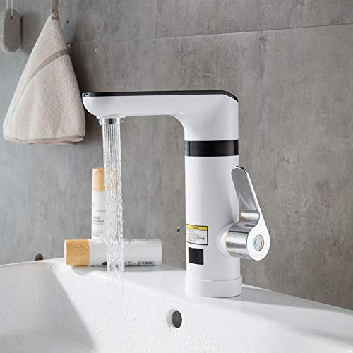 Calentador de agua de lavabo electrico blanco Grifo Calentador de agua caliente instantaneo Calentador de agua fria conpantalla digital
